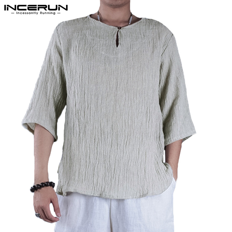 INCERUN Cotton Linen Shirts Plain Tee Tops Mens Short Sleeve Breathable Men Clothing Chinese Tee Causal Shirts Camisas Chemise