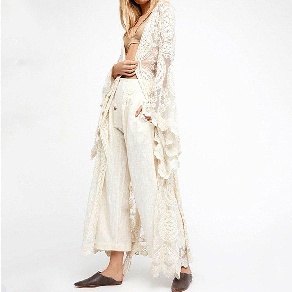 Encaje Maxi Capa Transparente Sexy Largo Playa Pies Abrigo Elegante De Vacaciones Los Bohemia Gran Mujer Mente Cardigan White Dobladillo nI816IF