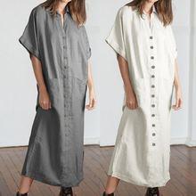 S-5XL женское платье-рубашка в винтажном стиле с лацканами и коротким рукавом, повседневные свободные вечерние платья макси на пуговицах, летние длинные платья