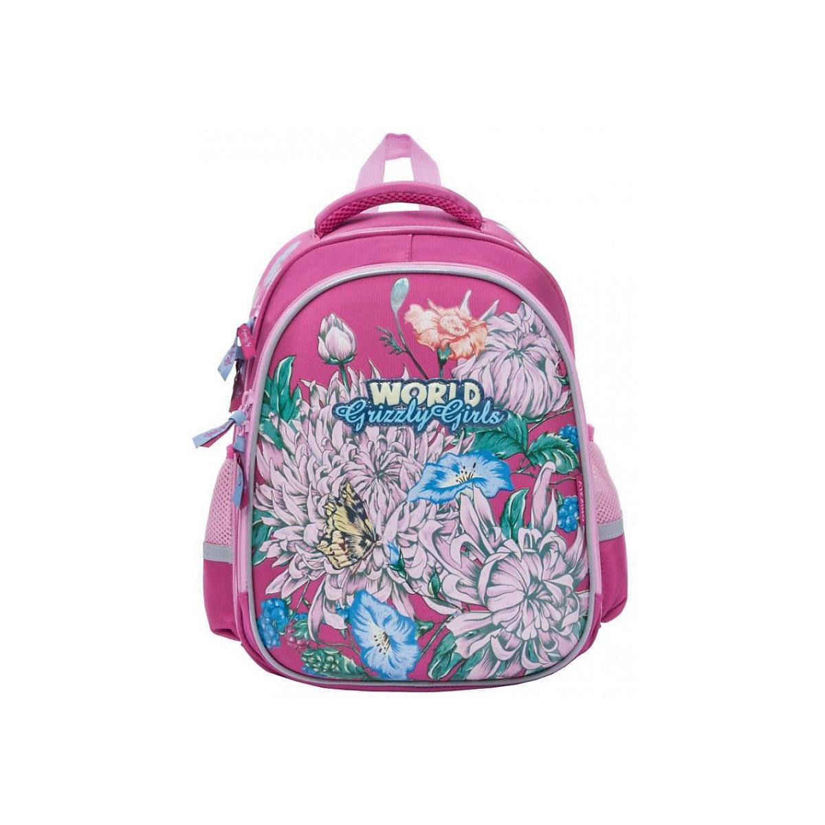 School Bags GRIZZLY 8317274 schoolbag backpack orthopedic bag for boy and girl animals flowers imido brand designer backpack women genuine leather bag for girl schoolbag black sheepskin fashion rivet mochila feminina sld051
