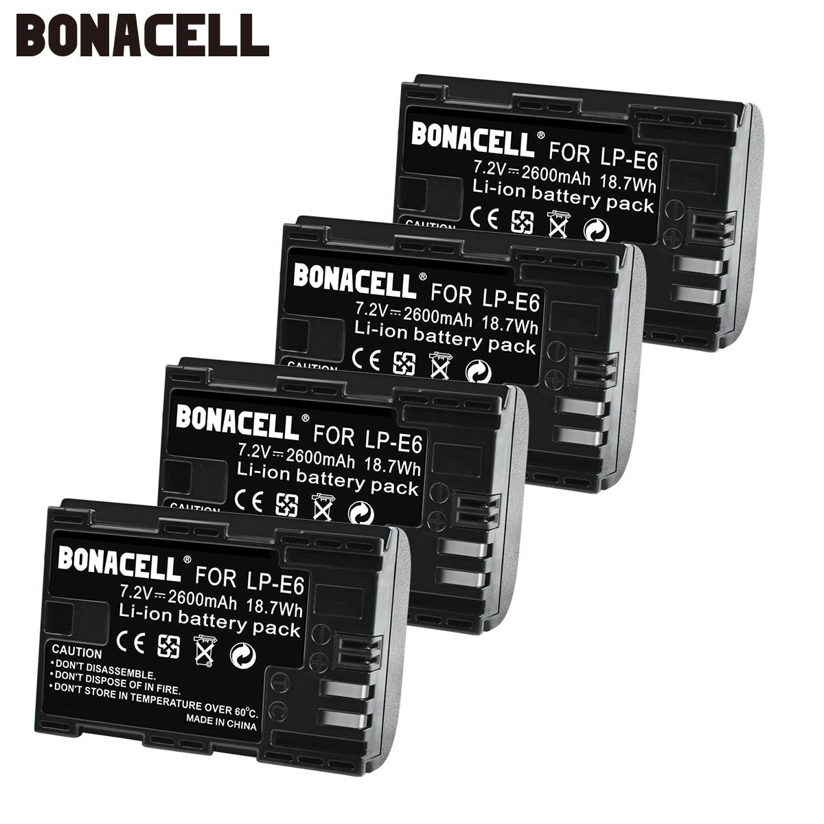 Bonacell 2600mAh LP-E6 Digital Camera Battery For Canon EOS 5D Mark II 2 III 3 6D 7D 60D 60Da 70D 80D DSLR EOS 5DS Lp E6 L10