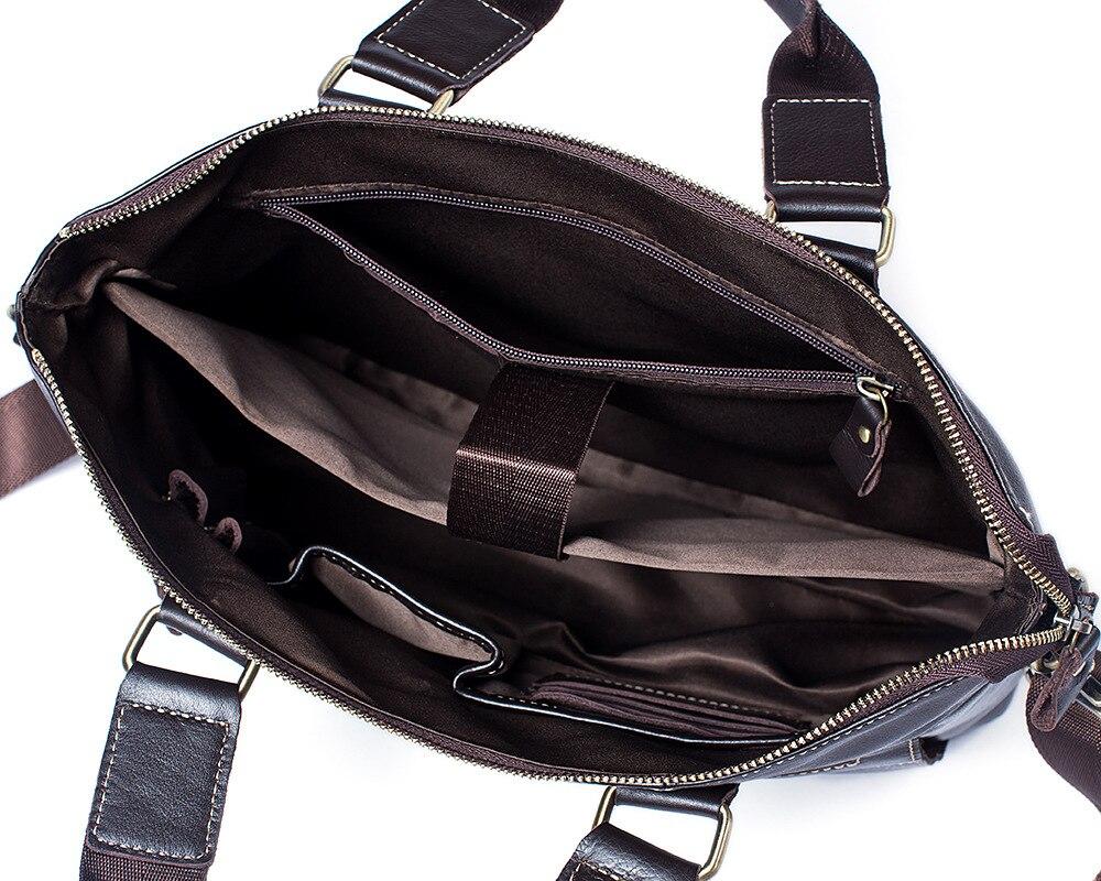 Bolso para ordenador portátil de cuero genuino de vaca Real de negocios bolsos de mano de cuero de vaca de hombre bolsos de hombro bandolera de viaje marrón - 5
