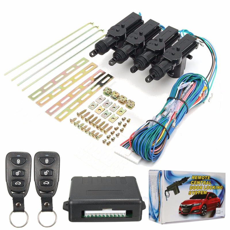 433.92 MHz 1 Set 4 porte télécommande sans clé entrée verrouillage Central Kit + alarme de voiture + Kit ruban + moteur Central