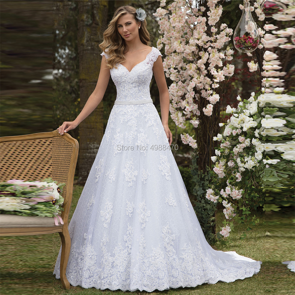Vestidos De Noiva Lace A Line Wedding Dress Sexy Backless Bridal Gowns Pearls Waist Appliques Wedding Dresses Marriage Trouwjurk