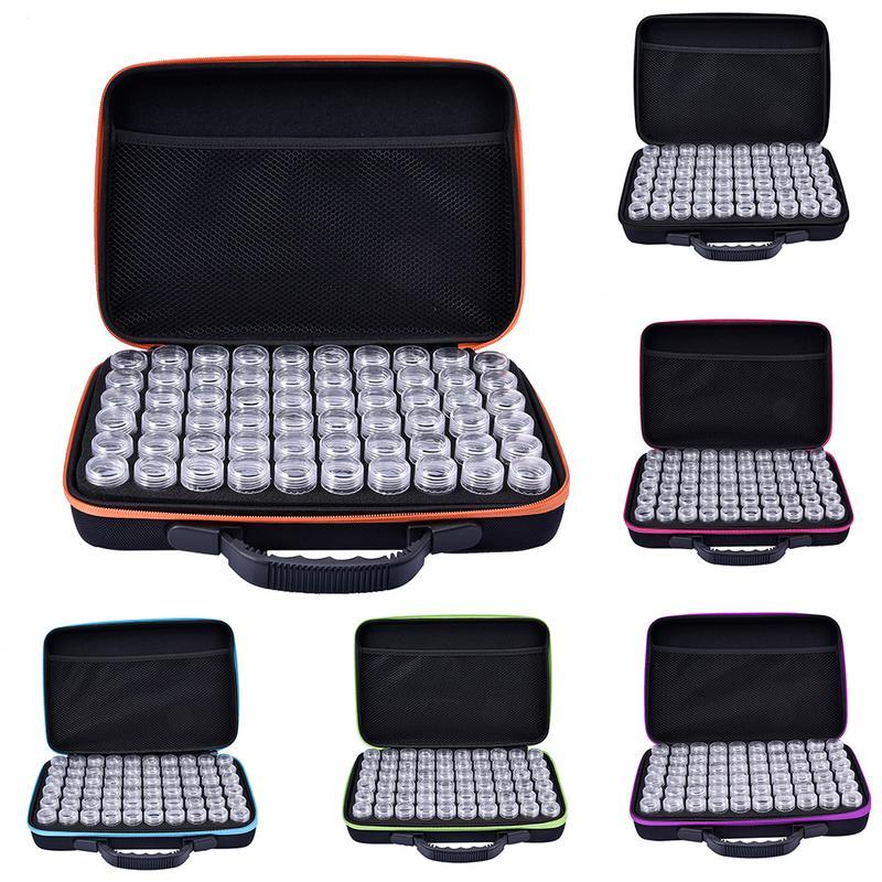 Boîte à broderie diamant 60 fentes étui à accessoires de peinture diamant perles en plastique transparent boîtes de rangement Design à glissière