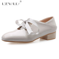 Lsewilly spring autumn new women pumps fashion lace up low thick heels shoes patent leather solid color lady casual shoes E596