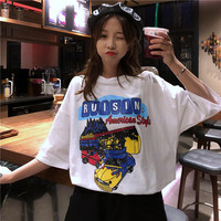 2019 Top Korean Unicorn Tumblr T Shirt Women Cotton New Style Knitted Loose Sleeve Long Cloth Letter Printed O neck