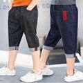 Лидер продаж 2019 для мальчиков шорты синий Короткие штаны джинсовые шорты; деним Регулируемый эластичный пояс брюки летние дети Костюмы
