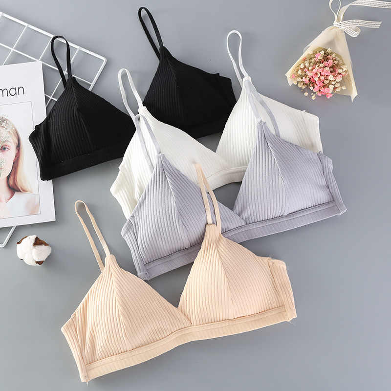 2019 striped cotton double-breasted girl underwear bra vertical thread wrapped chest bottom without rim underwear strap cotton