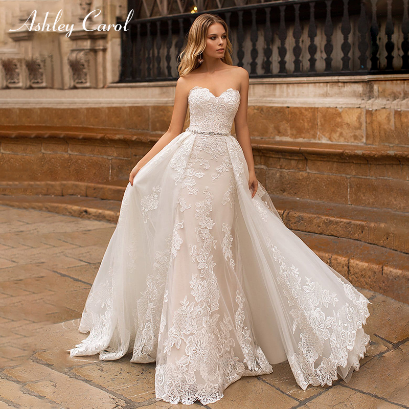 Ashley Carol Sexy Sweetheart Strapless Mermaid Wedding Dress Lace Up Detachable Train Vintage Bride Dress Romantic Wedding Gowns