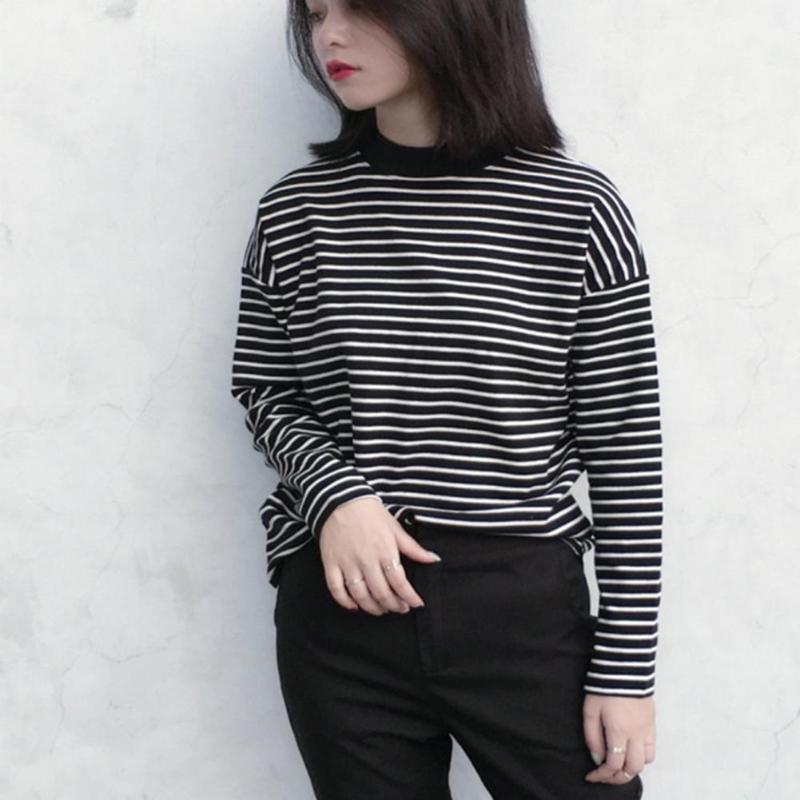 New Women Turtleneck Korean Style T Shirt Harajuku Long Sleeved Striped Tops Female T Shirt Summer Spring Casual Tops