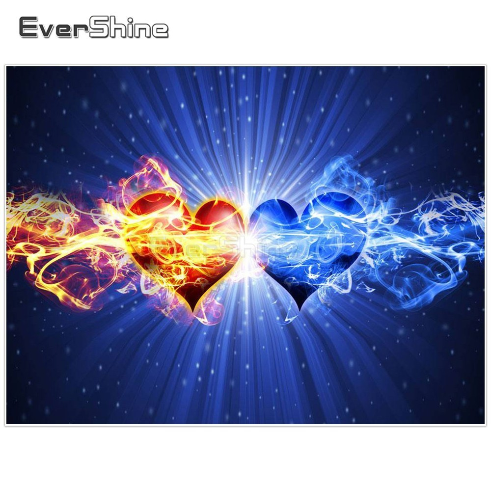 EverShine DIY Diamond Embroidery Full Display Heart Picture Of Rhinestones Diamond Painting Cross Stitch Handicraft Art Gift image