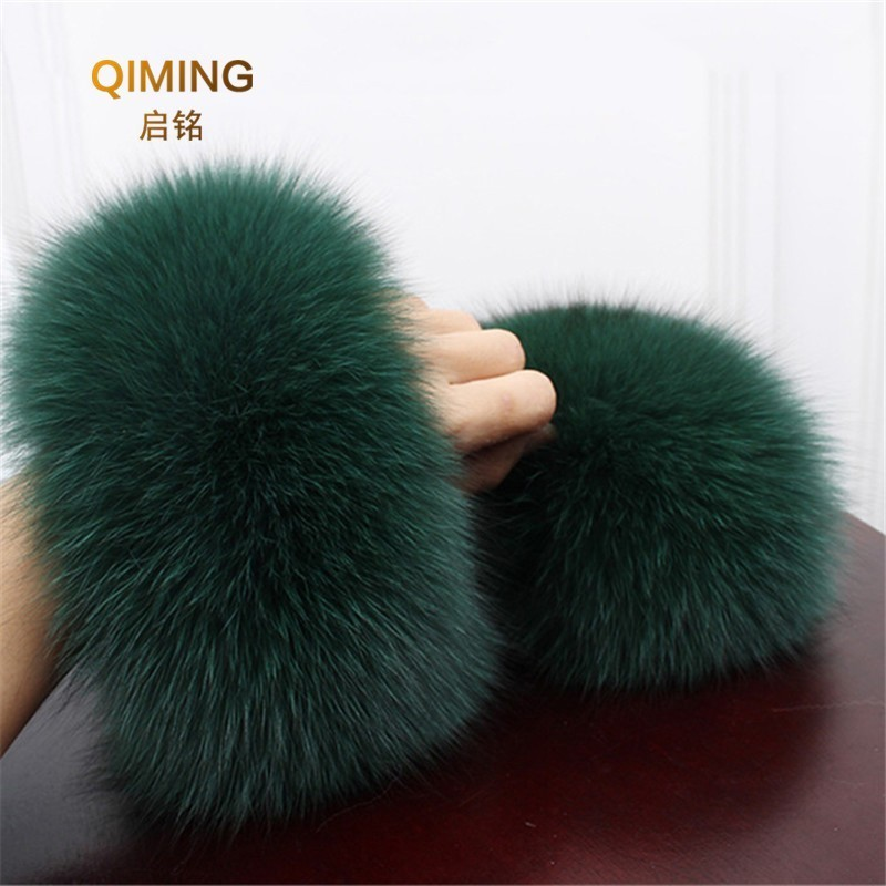 Fox Fur Cuff Arm Warmer Lady Bracelet Real Fur Wristband Glove High Quality Fox Fur Cuffs Hot Sale Wrist Warmer #P3