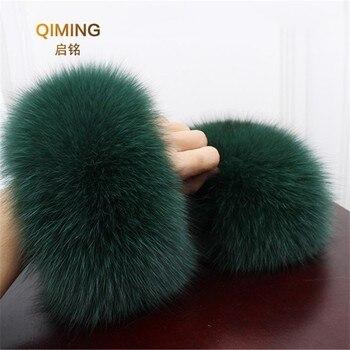 Fox fourrure manchette bras plus chaud dame Bracelet réel fourrure Bracelet gant de haute qualité renard fourrure poignets offre spéciale poignet plus chaud # P3