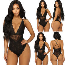 Women Sexy-Lingerie Bodysuits Babydoll Lace Floral V Neck Nightwear Fashion Sleepwear Underwear G-string Backless Jumpsuit Suit(China)