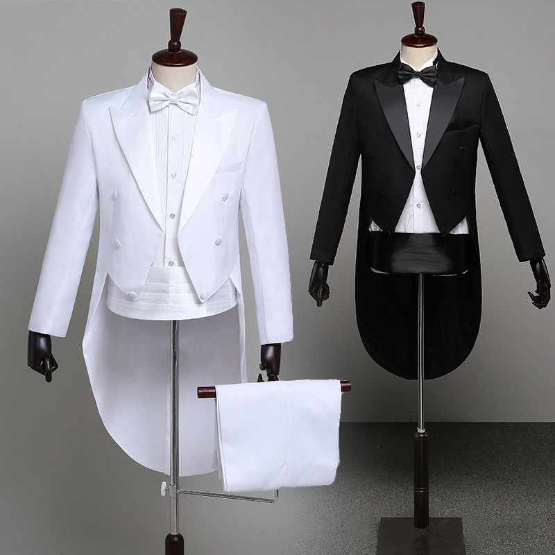 Tuxedo Dress XS-XL Men Classic Black Shiny Lapel Tail Coat Tuxedo Wedding Groom Stage Singer 2-Piece Suits Dress Coat Tails
