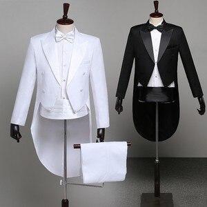 Image 1 - Мужской классический смокинг, черный блестящий пиджак с лацканами и хвостом, свадебный смокинг, сценический певец, костюм из 2 предметов, пиджак с хвостом