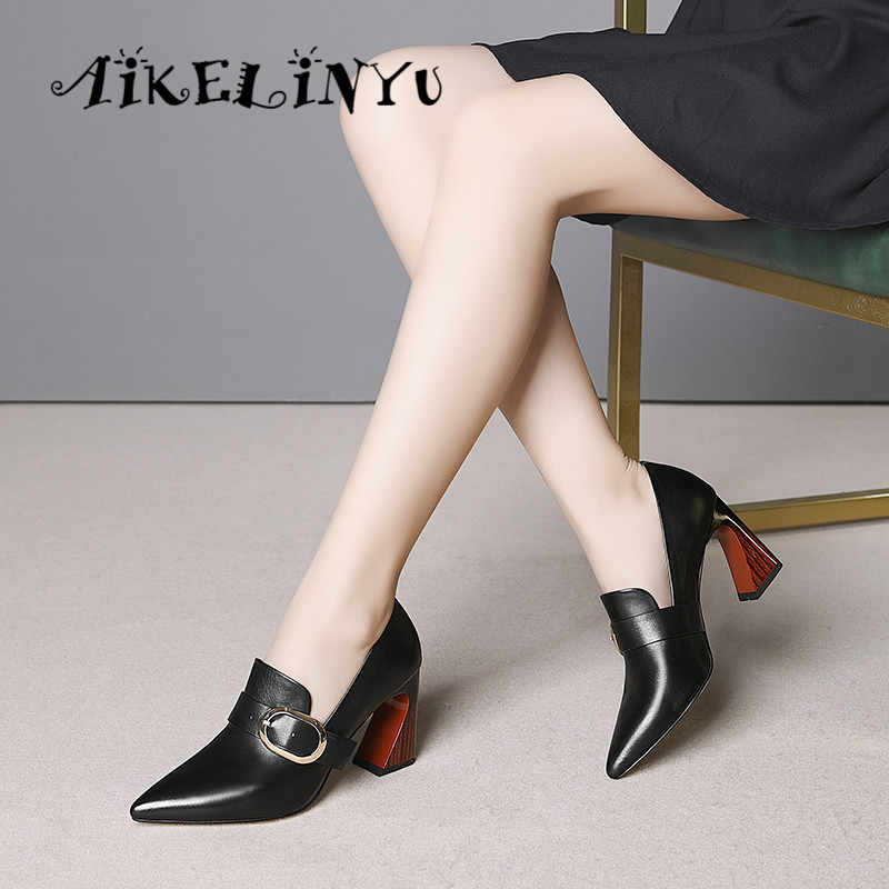 9ef6888012 ... AIKELINYU 2019 New Spring Women Cow Leather High Heels Shoes Pumps  Patent Elegant Dress Pointy Pumps