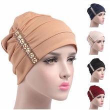 Mulheres muçulmanas hijab boné câncer quimio bonnet chapéu turbante islâmico boné gorro plissado gorro árabe indiano boné de perda de cabelo moda