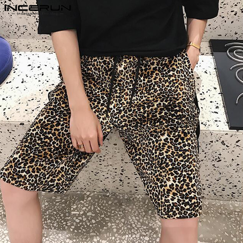 INCERUN Casual Men Shorts Leopard Printed Drawstring Loose Hip-hop Streetwear Trunks Fashion Shorts Men Harajuku 2019