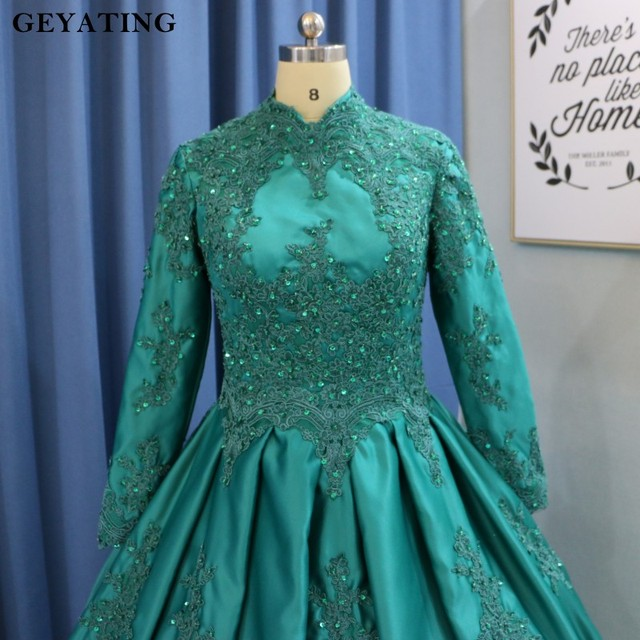 Emerald Green Arabic Islamic Muslim Wedding Dresses with Hijab 2019 Long  Sleeves High Neck Lace Ball Gown Princess Wedding Gowns 369080a1f3a3
