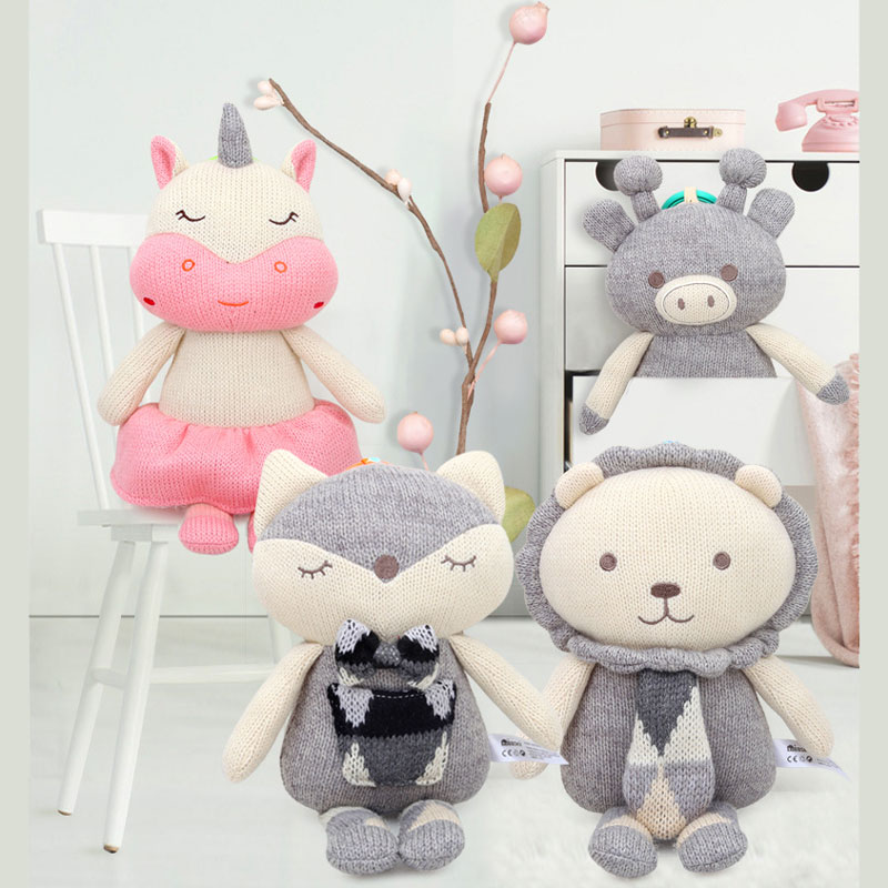 Pendant Doll Knitting Wool Stuffed Animals Toys For Bed Crib Strolle Appease Doll For Baby Toddler Infant 37CM 1~3 Years