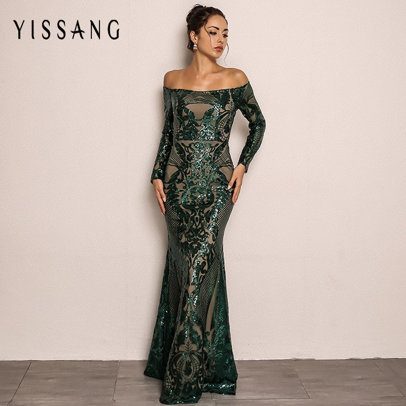 3deb2265030 Yissang Sequin Sexy Dress 2018 Autumn Slash Neck Off Shoulder Full Sleeve  Maxi Dresses Party Elegant