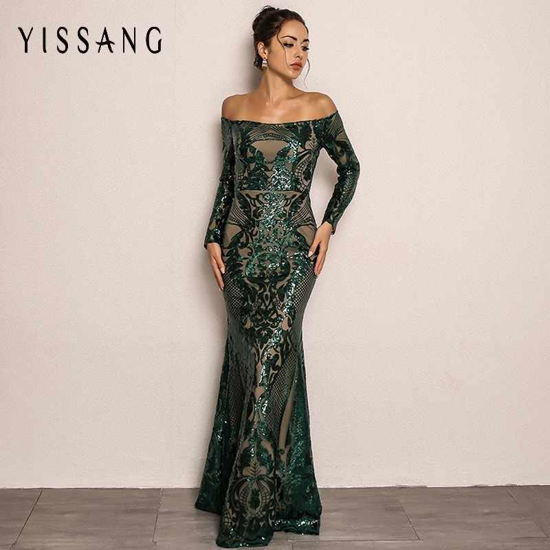 Yissang Sequin Sexy Dress 2018 Autumn Slash Neck Off Shoulder Full Sleeve  Maxi Dresses Party Elegant 9bed5ac23b9b