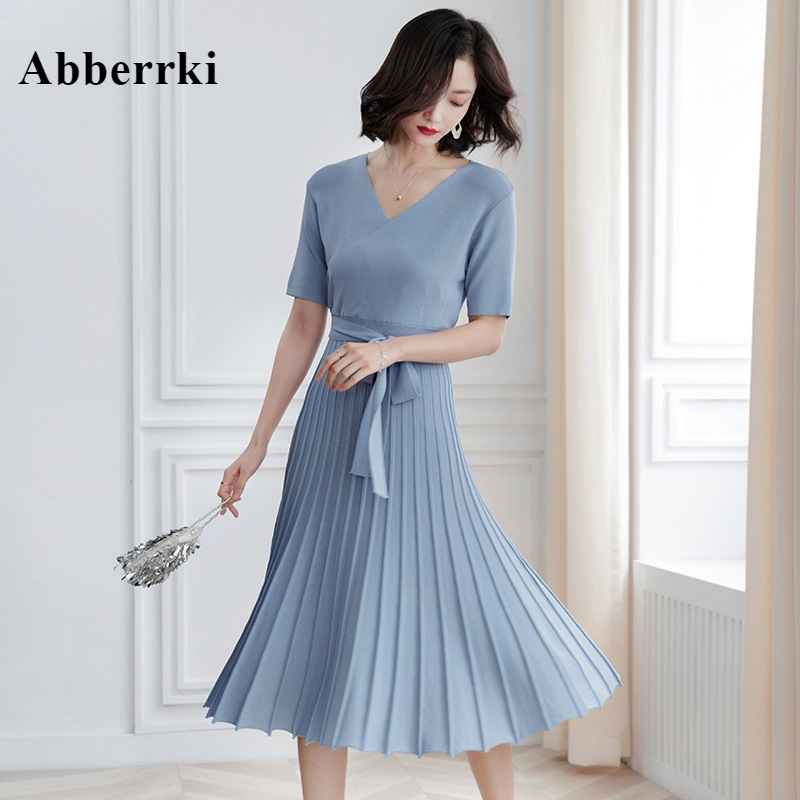 Korean Spring and Summer 2019 New Style Women Short Sleeves V collar Pleated Casual Long Knitted