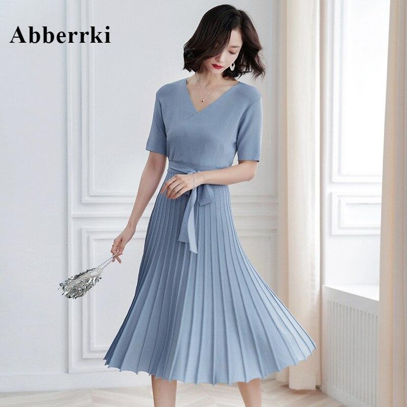 Koreański wiosna i lato 2019 nowy styl kobiety krótkie rękawy v kołnierz plisowane Casual długi dzianiny sukienka z pasa w Suknie od Odzież damska na AliExpress - 11.11_Double 11Singles' Day 1