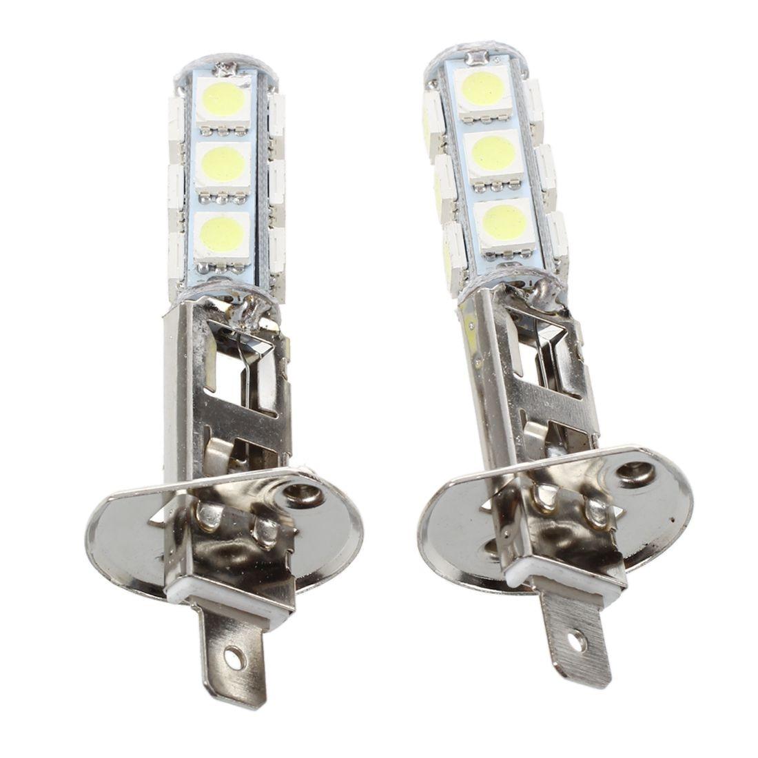2 Pcs Auto Light Headlight Lamp H1 White 13 SMD 5050 LED Chips