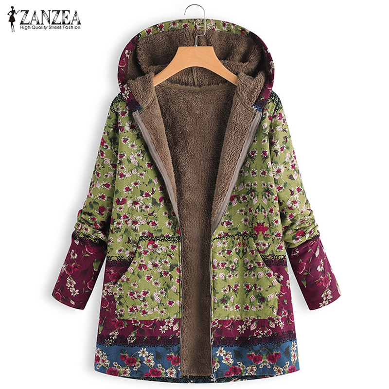 Winter Women Patchwork Coat Jacket 2018 ZANZEA Vintage Floral Print Hooded Outwear Female Long Sleeve Zipper Fur Lining Casaco