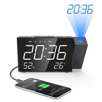 Desk Digital Clock Projection Alarm Clock Digital FM Radio Dual Alarm Volume Snooze Time Humidity Temperature DisPlay