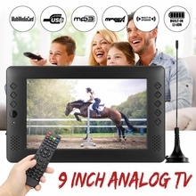12V 9 inch Portable Mini WiFi Digital and Analog TV HD DVB-T2 DVB-T DTV ATV Car Smart Television Support USB TF Card MP4 MP3
