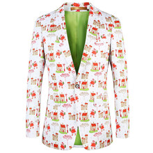 Luogen 2019 Fancy Mens Blazer Suits Costume Homme Taille Ternos Masculinos Slim Fit Vintage Flowers Printed Blazers Men