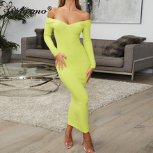 Colysmo Ribbed Cotton Maxi Dress Women V-shaped Neckline Long Sleeve Bodycon Dress Sexy Elegant Can Off Shoulder Sheath Dress heathered flounce layered neckline sheath dress