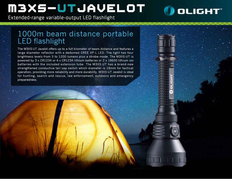 Olight m3xs M3XS-UT javelot lanterna cree XP-L led lanterna 1200 lumens 1000 metro lanterna tática