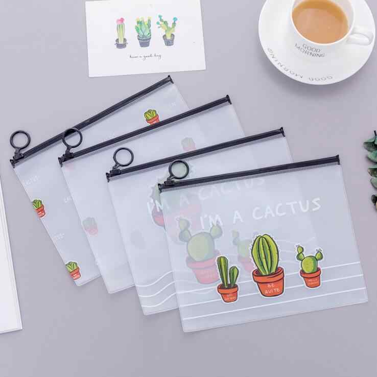 Ellen Brook 4 Pieces School Office Stationery Lovely Cute Kawaii Creative PVC Envelope To Receive Bag Cactus Translucent Folder
