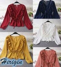 Blouses NEW Casual Spring Women Solid Ruffle Long Sleeve V-Neck Shirt Ladies Loose Chiffon Short Tops Blouse цена