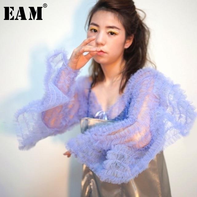 [EAM] 2019 New Spring Summer V-collar Long Sleeve Purple Perspective Ruffles Stitch Loose T-shirt Women Fashion Tide JO177