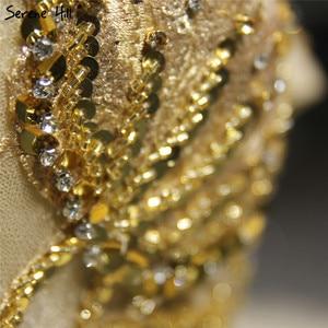 Image 5 - Dubaj wysokiej klasy krótkie rękawy luksusowa suknia ślubna w stylu Vintage Sexy Off ramię złota frezowanie cekinami panna młoda suknia 2020