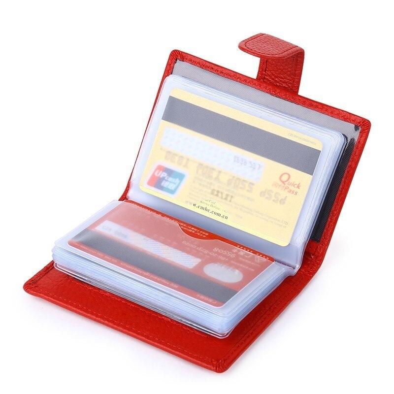 Hitelkártya-tulajdonos Nők Utazási üzletek Red Real Valódi bőr pénztárca Viaje Tarjetero Hombre Protector erszényes pénztárca