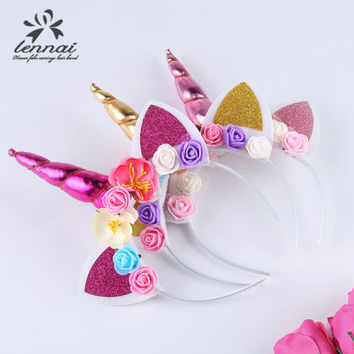 Cute Kids Sweet Flower Unicorn Horn Hair Band Headband Birthday Party Flower Floral Headwear Crown