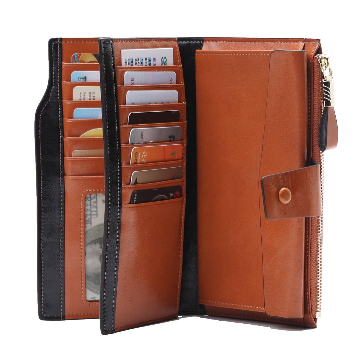 Cow Leather RFID Ladies Wallet Long Oil Wax Leather Cowhide Women's Multi-card Wallet Purse 781 Female Business Women's Handbag