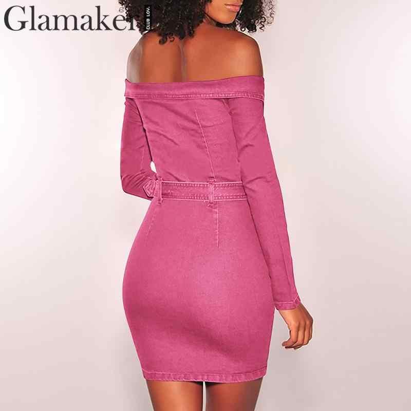 Glamaker Gợi Cảm denim trễ vai Đầm ngắn Nữ dây kéo dấu gạch chéo cổ dây ôm body Đầm tiệc Mùa Hè Câu Lạc Bộ Đầm vestidos nữ
