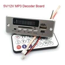 5v/12v leitor de placa de decodificador mp3 com display duplo canal sem amplificador de potência controle remoto fm energia fora da memória