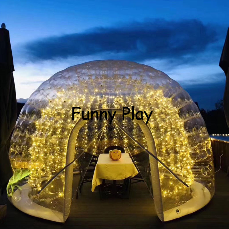 inflatable airtight camping tent half clear half black bubble house for hotel rental,Family Camping Backyard Advertising - 3