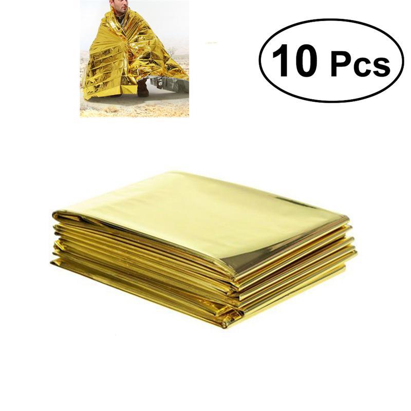 10 pcs Caminhadas Ao Ar Livre Escalada Sobrevivência De Resgate de Emergência Cobertor Cobertor Reflexivo 21 cm x 13 cm (Dourado)