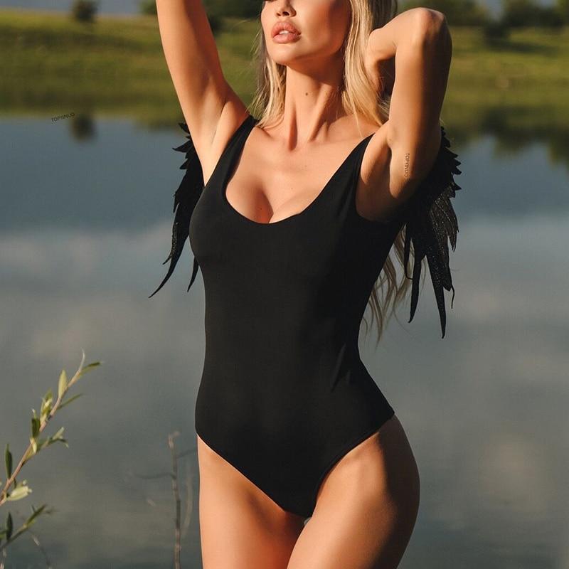 2019 One Piece Swimsuit Lady Backless Swimsuits Solid Color Angel Wings Swimwear Bikini Women Bodysuit Blue Pink Bathing Suit in Bodysuits from Women 39 s Clothing