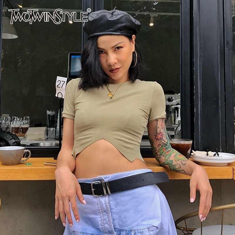 Twotwinstyle Mùa Hè Chắc Chắn Dệt Kim Gợi Cảm Nữ Áo Cổ Tròn Ngắn Tay Ôm Không Đều Crop Tops Nữ 2020 Thời Trang Mới